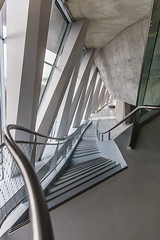 concrete_building_2 (sascha ungerer fotografie also on Facebook) Tags: windows building art glass museum architecture modern stairs concrete design triangle theater view bright stuttgart stage lounge clear staircase showroom future sascha railing skew triangular ungerer