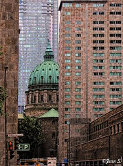 ... (Jean S..) Tags: tower church skyscraper green concrete windows street lights urban city