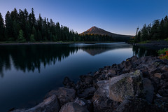 Mt Mcloughlin Sunset (Smi77y_OG) Tags: blue trees sunset summer mountain lake reflection nature water pinetree oregon forest landscape lava evening nikon rocks wideangle bluesky calm pines tamron mcloughlin southernoregon fishlake lavarocks glasswater