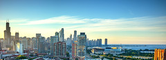 Chicago at Sunset from McCormick Plaza (Diacritical) Tags: chicago august12016 leicacameraag leicamtyp240 summiluxm11435asph f95 sec centerweightedaverage secatf95 0ev 35 iso200 skyline sunset hdr