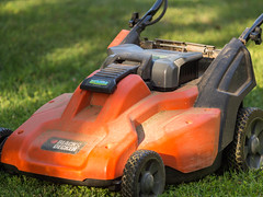 Mowing the lawn. Day 202 (RPStrick) Tags: black decker mowing lawn yard work orange lawnmower cutting grass olympus ep5