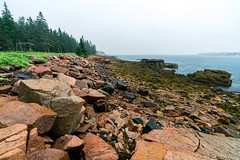 Schoodic Peninsula shoreline (The Burgys) Tags: landscape acadia nationalpark acadianationalpark maine color rocks granite sony a99 sonya99 zeiss zeiss1635 summer polarizer wideangle colors schoodicpeninsula schoodic coast trees orange ocean blue green rain overcast