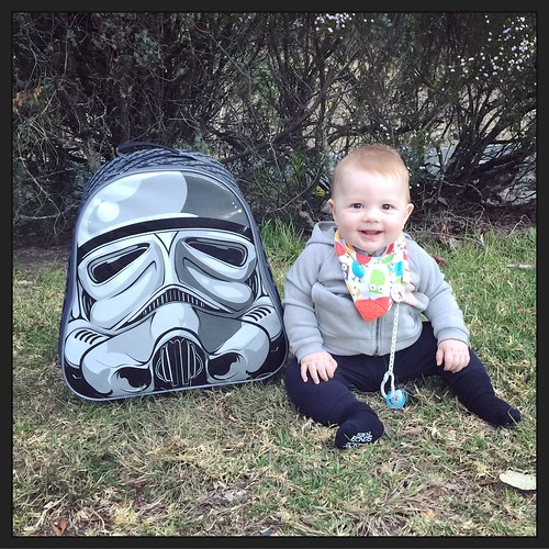 Mason Jack with his Storm Trooper bag
