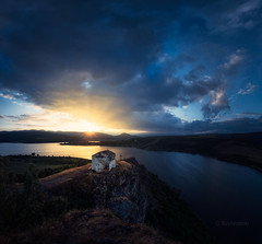 Divine light (emil.rashkovski) Tags: divine light bulgaria rashkovski summer dam reservoir church temple water lake mountain sun sunset sky clouds cross faith landscape nature outdoor