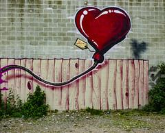 The Birthday Balloon (Steve Taylor (Photography)) Tags: balloon heart fence grain cartoon emma happybirthday wongi wilson freak art graffiti mural streetart pink red fun rope wooden newzealand nz southisland canterbury cbd city plant weeds shadow