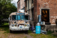 Church Bus (Culinary Fool) Tags: palouse townofpalouse usa historic washington culinaryfool travel bus photography brick brendajpederson wa 2016 may roadtrip travelwa 2470mm28