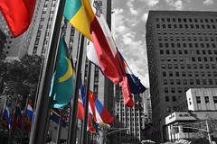 NYC (oscarheaneybrufal) Tags: america usa center buildings rockefeller newyork bw flags colour