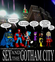 ONE SIXTH SCALE THEATRE presents Candace Bushnell's SEX AND THE GOTHAM CITY (DarkJediKnight) Tags: candancebushell sexandthecity gothamcity batman spiderman harley quinn catwoman batgirl supergirl humor parody spoof fake television poster