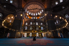 Circle (Ash and Debris) Tags: high pray believer windows istanbul turkey light circle mosque man symmetry alone architecture carpet islam lights prayer chandelier stanbul tr