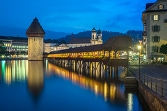 Kapellbrcke (clarsonx) Tags: lucerne luzern kapellbrcke chapelbridge switzerland swiss reussriver bluehour twilight dusk night footbridge light reflection city cityscape longexposure