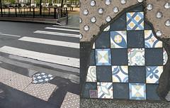 Mosaic on pavement by Ememem [Lyon, France] (biphop) Tags: europe france lyon streetart pavement trottoir mosaic mosaique installation ememem