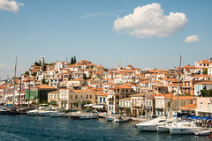Hydra - Harbourside Houses 2 (Le Monde1) Tags: greece island hydra port coast monastery greek lemonde1 nikon d800e saronicislands aegean sea town harbourside houses italianate clock bell towers