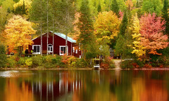 Red Cottage ... ( on Explore ) (MalgosiaK ...) Tags: autumn cottage red reflection adventure travel mont tremblant