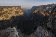 All Alone at Vikos Canyon (billpeppasphotography) Tags: alone canyon gorge faraggi vikos greece hellas ellada epirus ipeiros hpeiros drop cliff cliffs fall rock rocky rocks tree trees river stream snow mountain sunshine sunrise sun dawn sky nature landscape