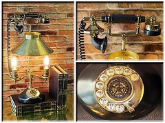 """Here's another #telephone to add to my """"Light Conversation"""" collection.  This is another truly #oneofakind #Steampunk #Lamp. It's an #antique #brass #lamp #repurposed with a black and brass #replica #phone. The #black & #brass #telephone with it's #metal (https://www.facebook.com/loftyideas4u) Tags: uploaded:by=instagram telephone lightconversation oneofakind steampunk lamp antique brass repurposed black replica phone metal lampshade vintage edison light buls steampunkphone repurposedphone vintagephone loftideas4u upcycledphone ypcycledlamp ebay etsy hipster homedecor prop urbanloftdesign"""