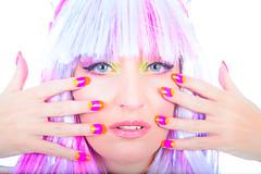 Pop Art Crazy Fashion (studiopixel83) Tags: pink portrait music woman art rose modern fun nice glamour pretty candy femme flash makeup pop moderne greeneyes whitebackground wig belle highkey lipstick mode couleur musique nailart perruque tangy colorwhite acidulé flashion rougeàlèvre fondblanc yeuxvert