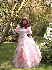 Princess in Pink (marcia2015au) Tags: costume tv lace feminine cd silk crossdressing dressing tgirl clothes parasol tranny transvestite taffeta satin bonnet crossdresser periodcostume transvestism