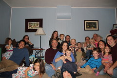 Group picture of five families (Aggiewelshes) Tags: thanksgiving november justin vanessa scott gavin julie sam ben group lisa victor stephen peter kelley vivian adrian annabel olsen eryn familypicture cailin jovie 2014 jalila