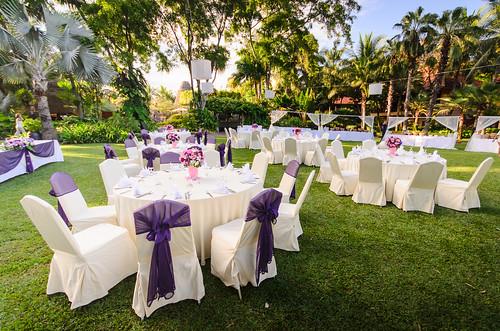 Romantic set up dinner table set for wedding dinner
