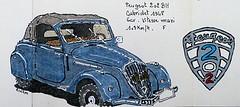 Peugeot 202 BH cabriolet 1948 (Jean-Paul Rivière) Tags: car sketch peugeot 202 encre croquis pittartistpen