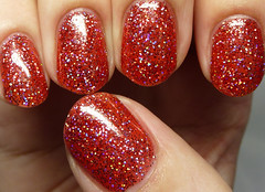 Ever After Polish Candy Cane Coma (http://www.thepolishedhippy.com) Tags: red glitter swatch nail polish indie jelly after ever sheer holographic varnish swatches lacquer holo bigcartel