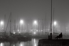 Contemplation (AAguaviva) Tags: reflection fog backlight blackwhite larochelle brouillard contrejour brume noirblanc