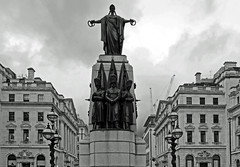 Waterloo Place (Crimea War Memorial) (Fujifilm X30) (markdbaynham) Tags: street city urban bw white black london monochrome westminster memorial war fuji place capital x waterloo fujifilm metropolis trans crimea compact x30 evf