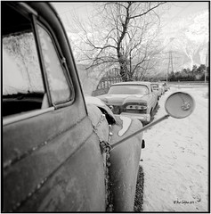 Driving mirror_Hasselblad (ksadjina) Tags: 6x6 austria carlzeissdistagon40mmf14 haiming hasselblad500cm kodak100tmax nikonsupercoolscan9000ed oiler69 oldtimer rodinal silverfast tyrol analog blackwhite film scan winter