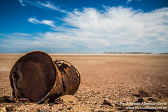 Rusting Oil Drum In The Desert, Namibia (NativePaul) Tags: africa travel vacation holiday rust honeymoon desert may roadtrip namibia oildrum southernafrica 2014 sadc erongo may2014