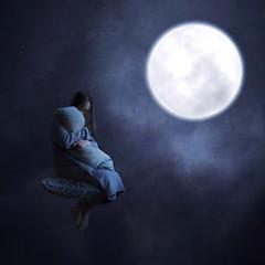 My Only Friend (shatteredsilencephotography) Tags: blue sky moon girl night stars sleep dream calm pillow conceptual drift surrealphotography