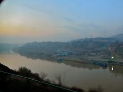 Lanzhou Ganzu China 25th November 2014 (loose_grip_99) Tags: china railroad travel november sunset yellow river landscape evening asia rail railway journey lanzhou 2014 lanzhoubeijing