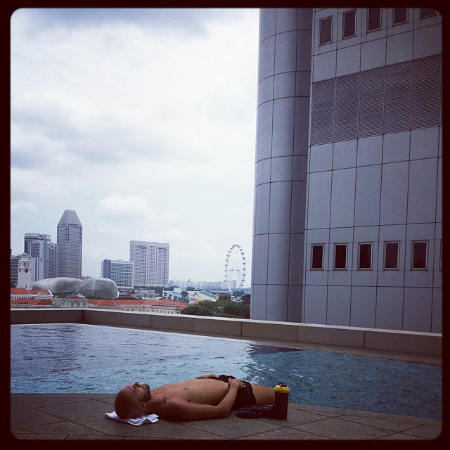 #Sun #pool and a #view 22/02/15. #Fitnessfirst #OGS #Tanning #Swimming #Water #Man #Fitness #Building #Singapore #Flyer