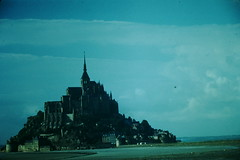 5-21-1954- Mont St Michel- France (3) (foundslides) Tags: lafrance french france europe european trip vacation foundslides irmalouisecarter american tourists tourist tourism holiday europeanvacation kodachrome kodak film snap snaps pics pix pictures photos photo westernfrance brittany bretagne norman normandie normandy 1954 may retro vintage 1950s irma louise slidefilm redborder transparency oldphotos slides johnrudd irmalouiserudd analog slidecollection irmarudd