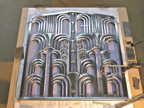 Welding setup for the current ART DECO Fireplace Screen (or Grill) - Flickriver: Most Interesting Photos From Chicago Art Deco Society Pool