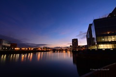 BelfastAtNight3 (CharlesM-2) Tags: longexposure ireland light sunset sky water night clouds reflections river nikon belfast northernireland northcoast 2015 riverlagan charlesm clarendondock d7100 shadowpm2