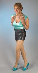 A Nice Lean! (kaceycd) Tags: pumps highheels metallic tgirl bodysuit stilettoheels miniskirt pantyhose crossdress spandex lycra tg leotard stilettos wetlook romper platformheels sexypumps opentoepumps platformpumps stilettopumps peeptoepumps