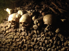 The City of the Dead- The Paris Catacombs (Thumpr455) Tags: france cemetery graveyard underground dead death skull january haunted human ossuary bones skeletons tunnels quarry 4s iphone pariscatacombs 2015