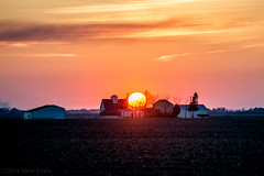 Fiery Orb... (Mista Sparkle) Tags: sunset sun barn illinois farm