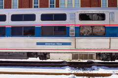 Amtrak 20 running SUPER late with only one motor in Orange VA this afternoon.  Had the Viewliner rail inspection car attached. (bdunn829) Tags: railroad winter snow trains crescent amtrak norfolksouthern viewliner railfanning orangeva amtrak20 americanviewliner amtrakinspectioncar