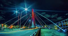 Bridge. (carvajal.hache) Tags: bridge puente night noche largaexposicin longexposure light luces fisheye ojodepez medelln antioquia colombia