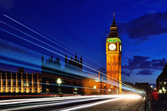 Twilight Trails (Rebecca Ang) Tags: london uk unitedkingdom bigben twilight thebluehour bluehour lighttrails traffictrails city cityscape urban rebeccaang