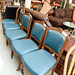 Wood and blue leather dining chair