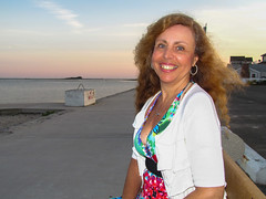 Summer Wanda at Sunset (tquist24) Tags: ocean portrait sky woman beach water girl smile canon hair geotagged wanda pretty unitedstates connecticut newengland shore westbrook hww westbrooktownbeach