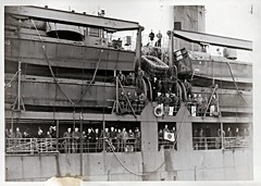 USS Crenshaw (APA-76), Gilliam Class Attack Transport, Midship, Landing Craft, Sailors, Life Raft (photolibrarian) Tags: sailors landingcraft liferaft midship usscrenshawapa76 gilliamclassattacktransport