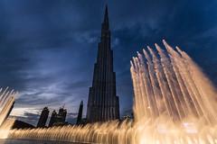 Leading lines || Dubai Mall (David Marriott - Sydney) Tags: dubai unitedarabemirates ae uae fountain water dusk sunset downtown burj khalifa