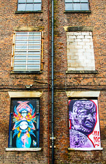 angry teller and 6 windows (PDKImages) Tags: urban streetart art mill abandoned beauty lady contrast manchester graffiti eyes colours anger lips fortune hidden angry drama fortuneteller unexpected teller liom
