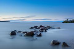 Calming The Waves (.:: Nelepl ::.) Tags: healisland manitoba canada lakewinnipeg water rocks sunsetbeach longexposure outdoors twilight dusk bluehour