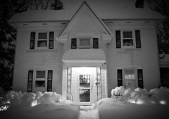 remember when it was cold? (karma (Karen)) Tags: baltimore maryland home frontyard blizzard snow lights windows doors monochrome bw 4winter