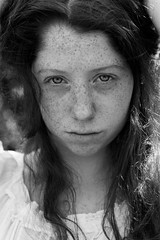 (picco_benedetta) Tags: portrait ritratto girl ragazza face young 50mm nikon eyes occhi hair capelli lips freckles lentiggini light luce shadows blackandwhite biancoenero black white dress