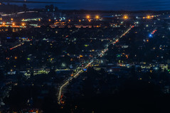 over seminary avenue at international boulevard (pbo31) Tags: oakland california eastbay alamedacounty july 2016 boury pbo31 nikon d810 over view dark night dusk city urban traffic lightstream motion color eastoakland black roadway leonaheights